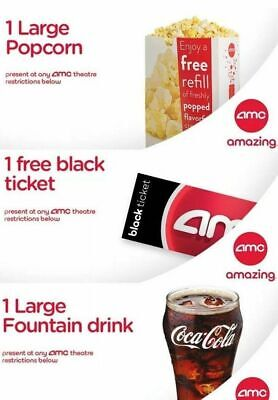 Movie night! 1 AMC Movie Theater Black Ticket, 1 Large Popcorn, 1 Large Drink
