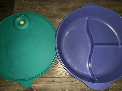 "Tupperware ~ Crystal Wave 10"" Divided Round Dish Blue Green #3284 Microwave Vent"