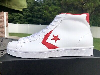 Herrenschuhe Converse Pro Leather 76 Mid White Casino Red