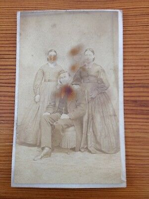Antique Sepia Two Women Man Trio Siblings? Victorian Goth Cabinet Photograph