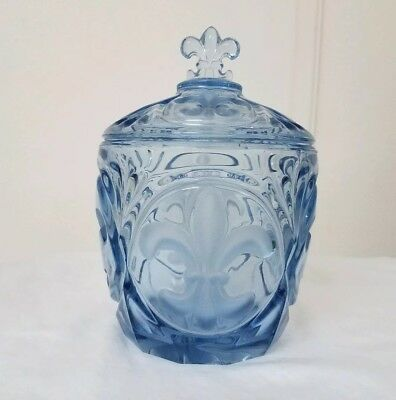 "BLUE 1930 Josef Inwald Czech GLASS ""FLEUR-DE-LIS JAR w/ COVER Deco Depression"