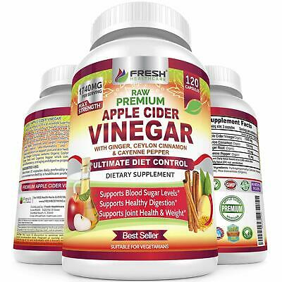 Organic Apple Cider Vinegar Pills Max 1740mg With Mother - 100% Natural and Raw