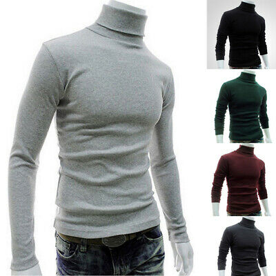 Men Thermal High Collar Turtleneck Pullover Long Sleeve Sweater Stretch Shirts
