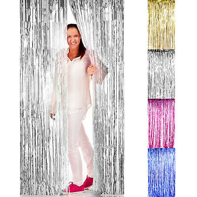 2mx1m Metallic Fringe Vorhang Party Folie Lametta Raumdeko Tür Girlande