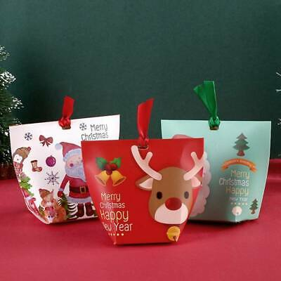 10X Christmas Santa Elk Party Favor Gift Sweets Carrier Candy Boxes-With Ribbons