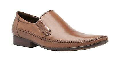 Mens Flakes Dress Coffee Brown Dress Work Leather Slip On Shoes Size 7 - 13 Us
