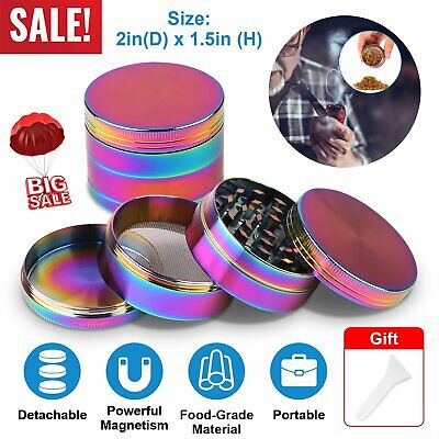 4Piece Herb Spice Tobacco Grinder Rainbow Stainless Steel Smoke Crusher Magnetic