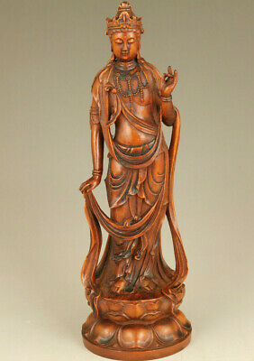 Chinese old boxwood Hand carving Guanyin statue figure table home decoration