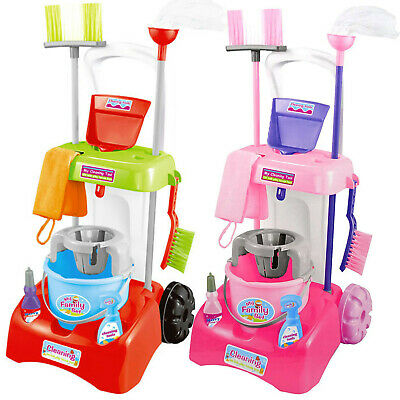 Kids Cleaning Trolley Cart with Mop & Brush Role Toy Set With Cleaning Tools