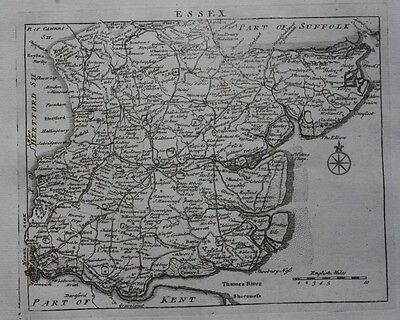 Original antique map, ENGLAND, ESSEX, 'England Displayed' J Rocque, 1769