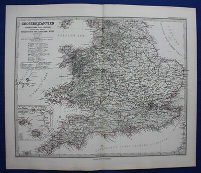ENGLAND & WALES, CHANNEL ISLANDS, original antique map, Stieler 1880