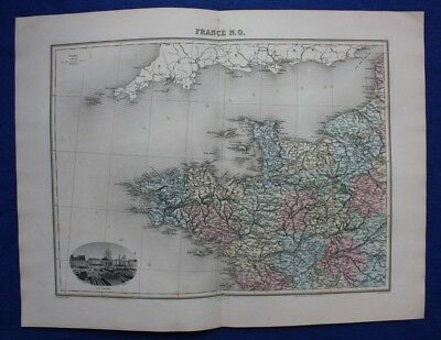 Original antique map NORTH WEST FRANCE, BRITTANY, LE HAVRE, Migeon, 1891