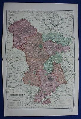Original antique map DERBYSHIRE, DERBY, BUXTON, RAILWAYS, G.W. Bacon, 1896