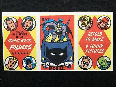1966 Topps Comic Book Foldees Card #24 BAT MOBILE DC Comics Not A&BC Gum-FCC(MC)