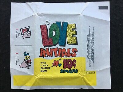 1968 Love Initials 10c Stickers Topps Bubble Gum Wax Wrapper - FCC