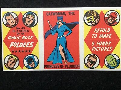 1966 Topps Comic Book Foldees Card #43 CATWOMAN DC Comics Not A&BC Gum - FCC