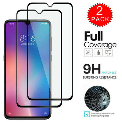 2Pack Full Coverage Tempered Glass Screen Protector Film For Xiaomi Mi A3