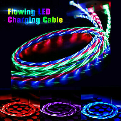 LED Flowing Light UP Micro USB Data Sync Charger Cable For iphone Type C