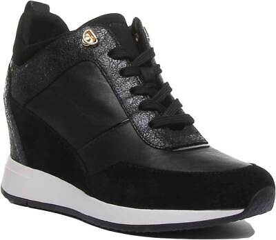 Details about Geox Nydame Womens Breathable Leather Wedge Trainers In Black UK Sizes 3 8
