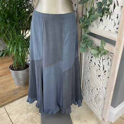 MARKS & SPENCER PER UNA Patch Midi Maxi Skirt Blue Cord & Suedette Panel 12