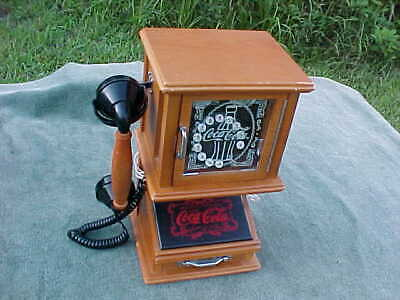Collectible COCA COLA TELEPHONE. Phone Nostalgic Wall Mount Wooden Working 141/8