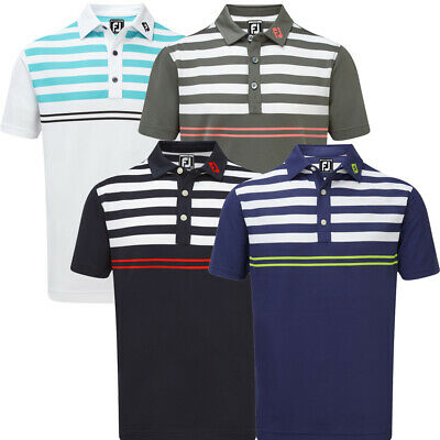 FootJoy Mens Smooth Pique Golf Polo Shirt with Graphic Stripes
