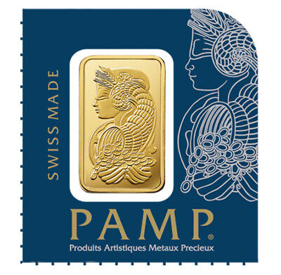 1 gram Gold Bar - PAMP Suisse Lady Fortuna .9999 Fine (In Assay)