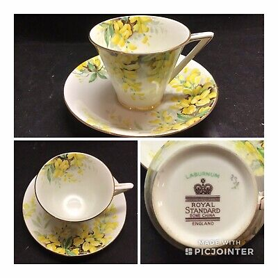 "Royal Standard ""Laburnum"" Tea Cup w/ Saucer ~Gold Trim Yellow Flowers~Rare (K10)"