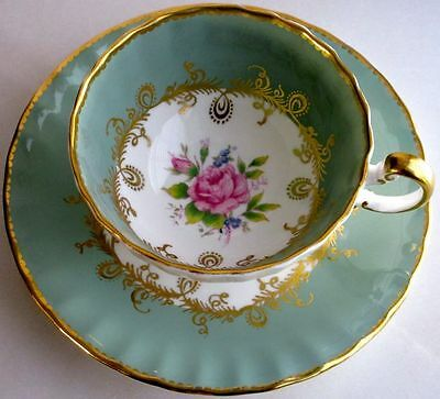 Aynsley Fancy Pastel Green and Rose Bone China Cup & Saucer 1930s
