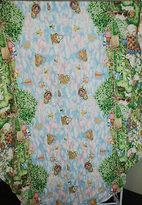 EASTER BUNNY EGGS TABLECLOTH + 6 Napkins TULIP FLOWERS Cotton Fabric Oval 54x76