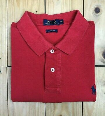 Men's Red Polo Ralph Lauren Polo Shirt Large L Custom Fit Short Sleeve Cotton A