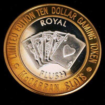 1994 CT McCarran Airport Slots Silver Strike $10 Casino Royal Flush Token 9MA407