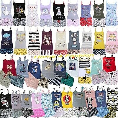 Primark Ladies DISNEY Cami Pyjamas Women's Vest Top Shorts Girls Summer PJ's NEW