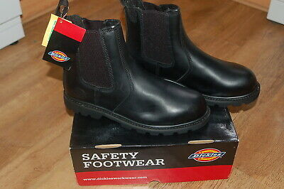 MENS DICKIES LEATHER DEALER SAFETY WORK STEEL TOE CAP SHOES CHELSEA WELTED BOOTS