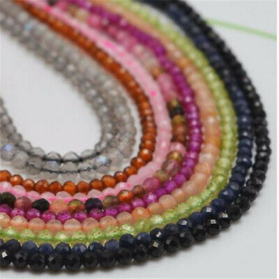 1pcs 2mm Faceted Tourmaline Loose Bead Charm Strand Jewelry Makings Natural Top