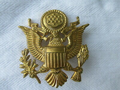 WWII US ARMY Officer Hat Cap Brass EAGLE BADGE Crusher Visor Insignia