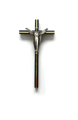 Dark Wood Wall Cross Crucifix with Gold Metal Inlay Silver Christ Religious Gift