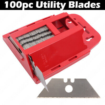 100x Trimming Knife Blades Two Notch Utility Craft Cutting Knives with Dispenser