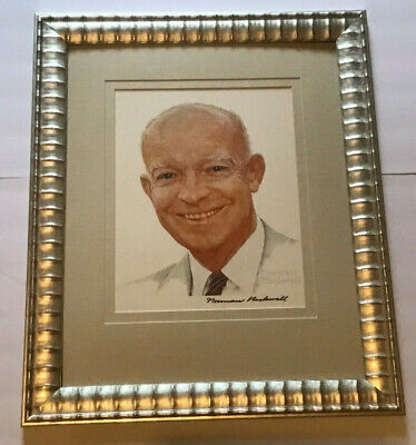 Dwight Eisenhower Signed by Norman Rockwell Autographed Lithograph