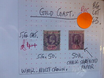 BRITISH COMMONWEALTH EDWARD VII STAMP GOLD COAST 1d SG 50 & 50a