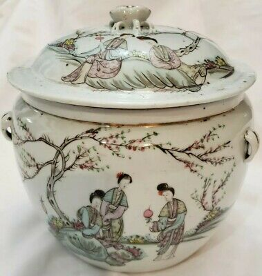 Chinese export Antique Famille Rose Porcelain Jar Tongzhi Marked 19th C Qing