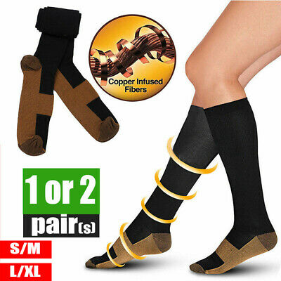 Miracle Copper Compression Socks Anti Fatigue Unisex Travel DVT Comfort 1/2Pairs