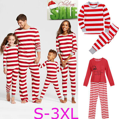 UK Christmas Family Matching Pyjamas PJS Set Xmas Adult Kids Sleepwear Nightwear