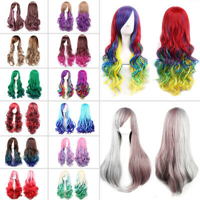 Womens 28'' Full Long Fancy Dress Wigs Curly Wavy Cosplay Costume Ladies Party