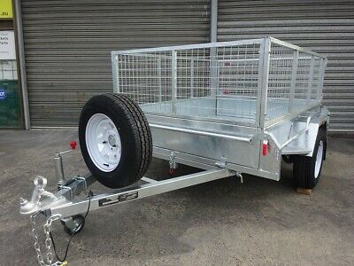 7 x 5 FULLY WELDED BOX TRAILER WITH 600mm CAGE, TILTING, HOT DIP GALVANISED