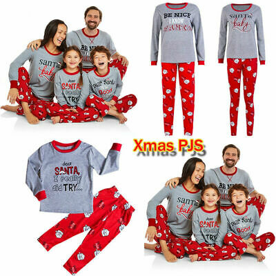 UK Family Matching Boys Girls Christmas Pyjamas Xmas Nightwear Pajamas PJs Sets