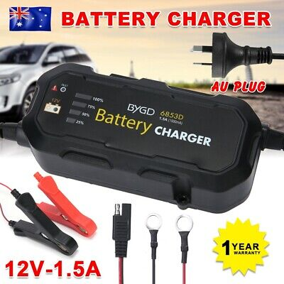 12V 1.5A Battery Charger Maintainer Deep Cycle AGM SLA Car Truck Motorbike Boat