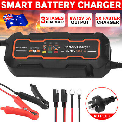 Automatic Smart Battery Charger 5A 12V/6V SLA Car Motorbike Boat Deep Cycle AGM