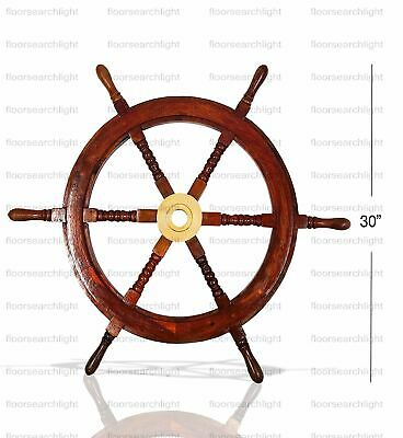 "Nautical Antique Brass 24"" Wooden Ship's Wheel Boat Steering Wall Decor"