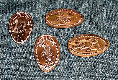 Lot of 4 Minnesota Zoo Elongated Pennies Vintage Trade Tokens, Penny